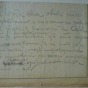 František Drtikol – originální artefakt!!! rukopis…Člověk chce stále něco…